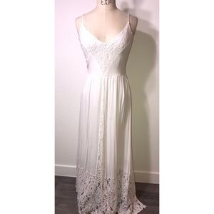 Cream maxi dress with lace detail